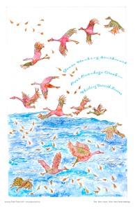Geese Honking Southward Over Onondaga Creek-- Whirling Dervish Leaves