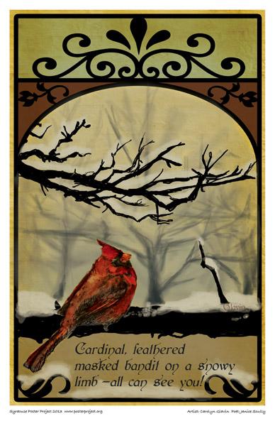 Cardinal, feathered masked bandit